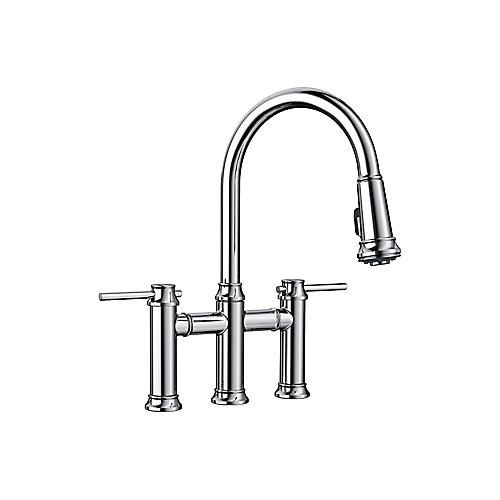 EMPRESSA Pull-down Dual Handle Bridge Faucet, Chrome
