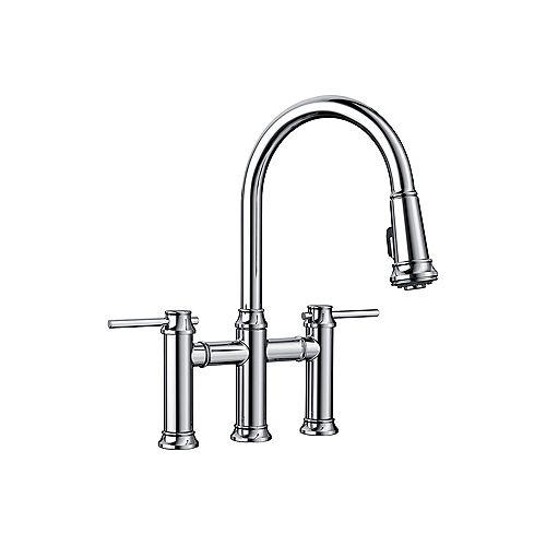 EMPRESSA BRIDGE, Pull-down Dual-handle Kitchen Faucet, 1.5 GPM flow rate (Dual-spray), Chrome