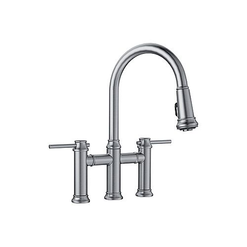 EMPRESSA BRIDGE, Pull-down Dual-handle Kitchen Faucet, 1.5 GPM (Dual-spray), Stainless Finish