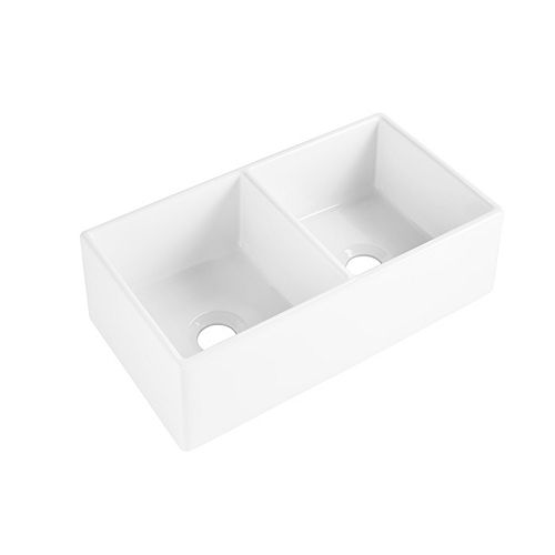 Brooks II Farmhouse/Apron-Front Fireclay 33 inch 50/50 Double Bowl Kitchen Sink in Crisp White