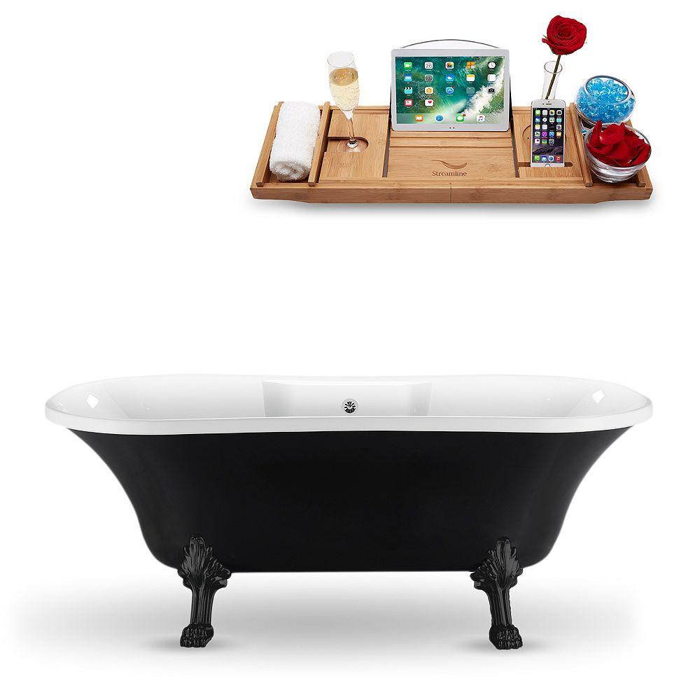 Streamline 68-inch  N103BL-CH Clawfoot Tub and Tray With External Drain
