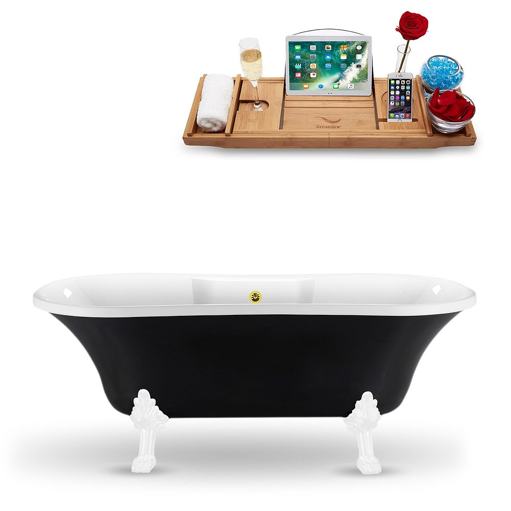 Streamline 68-inch  N103WH-GLD Clawfoot Tub and Tray With External Drain