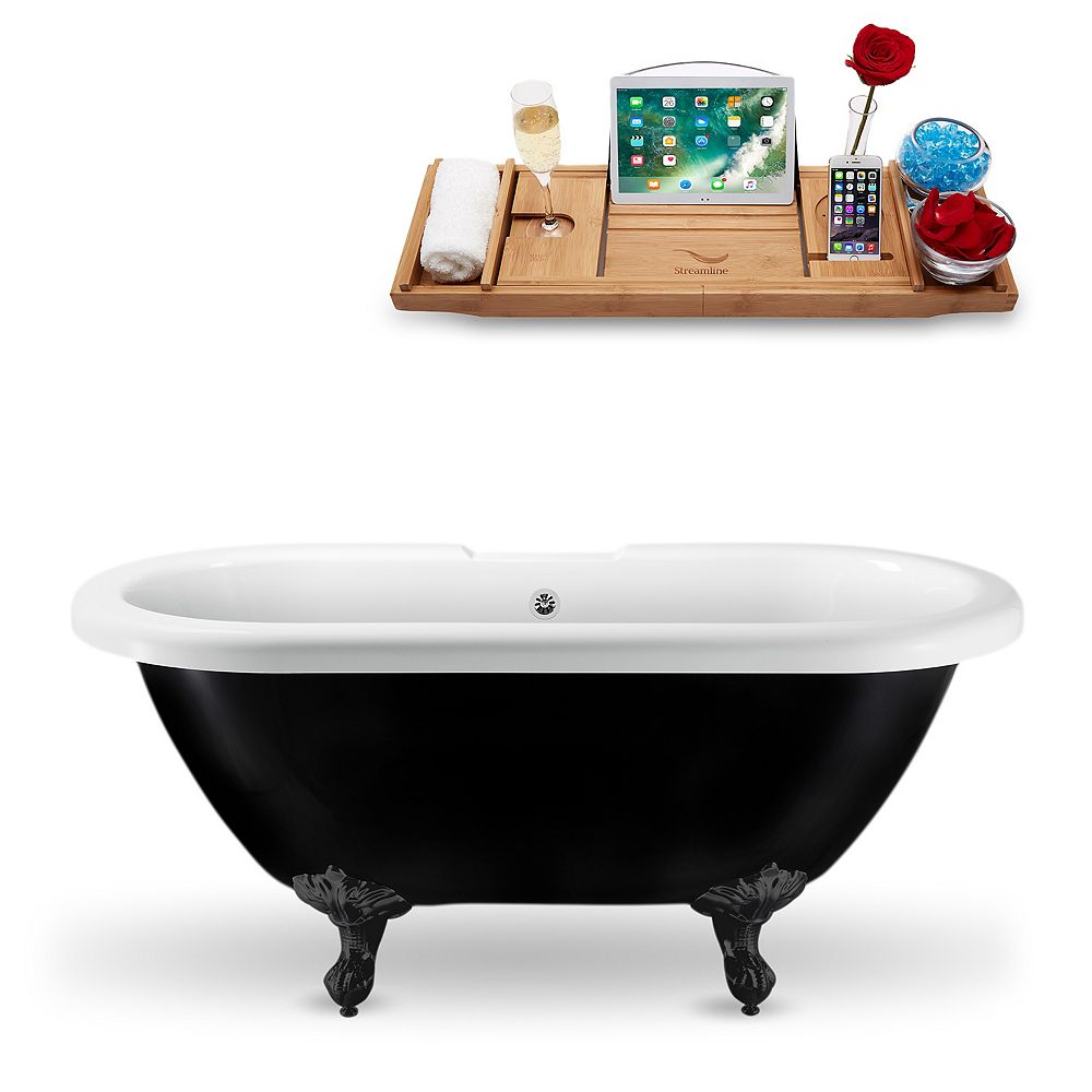 Streamline 59-inch  N1120BL-CH Clawfoot Tub and Tray With External Drain