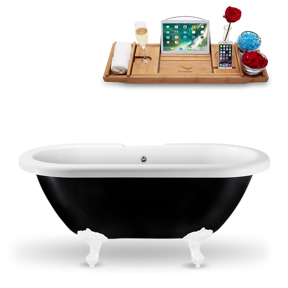 Streamline 59-inch  N1120WH-CH Clawfoot Tub and Tray With External Drain