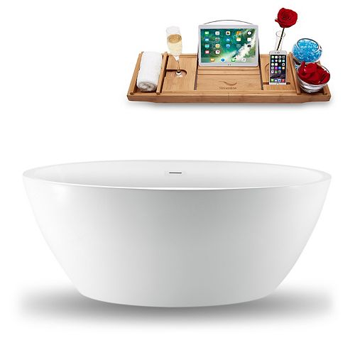 59-inch  N-1301-59FSWH-FM Freestanding Tub and Tray With Internal Drain