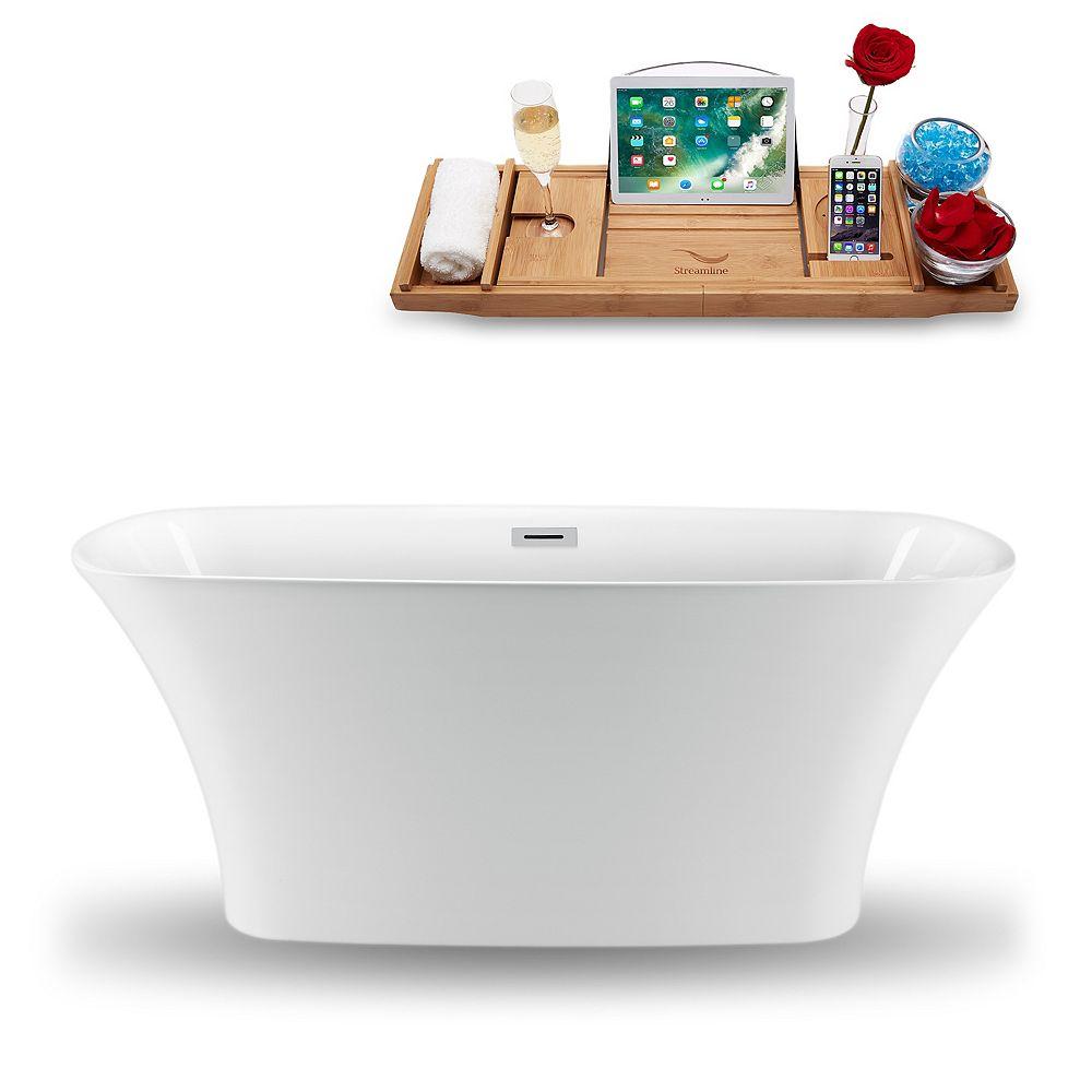 Streamline 70-inch  N-1320-67FSWH-FM Freestanding Tub and Tray With Internal Drain
