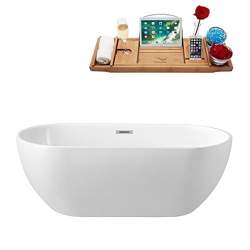 59-inch  N-140-60FSWH-FM Soaking Freestanding Tub and Tray With Internal Drain