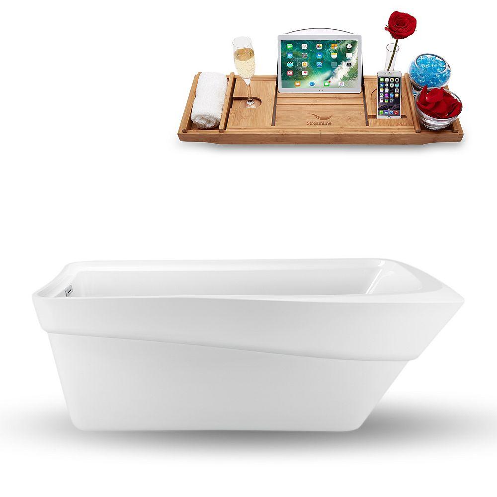 Streamline 70-inch  N-1540-67FSWH-FM Freestanding Tub and Tray With Internal Drain