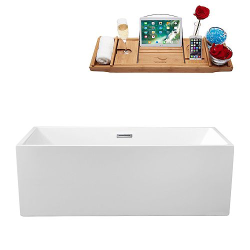 66-inch  N-260-66FSWH-FM Soaking Freestanding Tub and Tray With Internal Drain