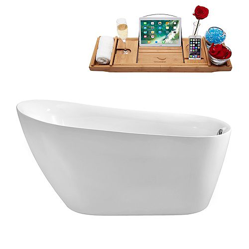 67-inch  N-281-67FSWH-FM Soaking Freestanding Tub and Tray With Internal Drain