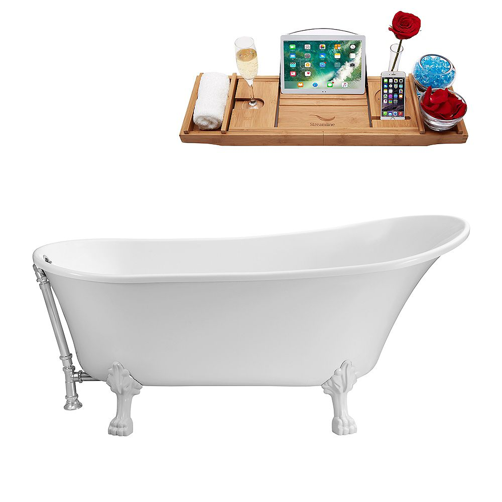 Streamline 67-inch  N340WH-CH Soaking Clawfoot Tub and Tray With External Drain