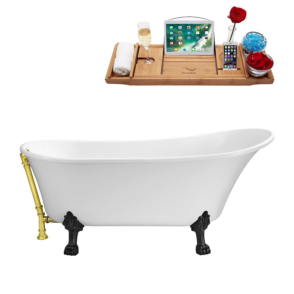 Streamline 59-inch  N341BL-GLD Soaking Clawfoot Tub and Tray With External Drain