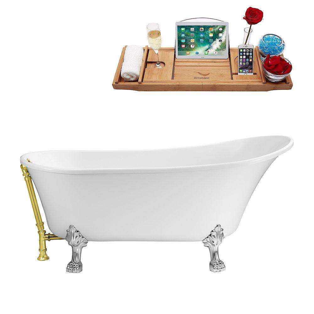 Streamline 63-inch  N342CH-GLD Soaking Clawfoot Tub and Tray With External Drain