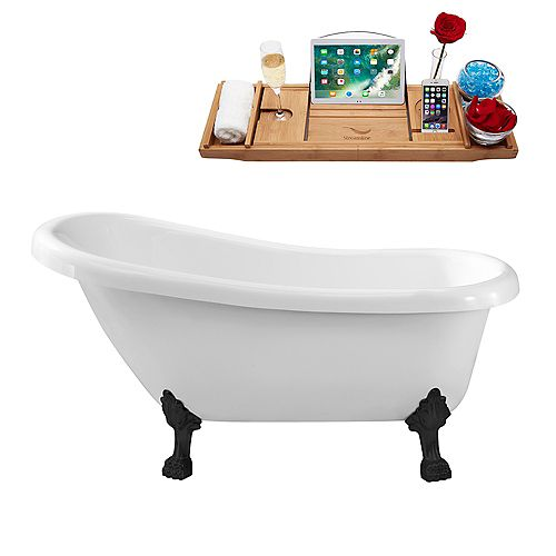 61-inch  N480BL Soaking Clawfoot Tub and Tray With Internal Drain