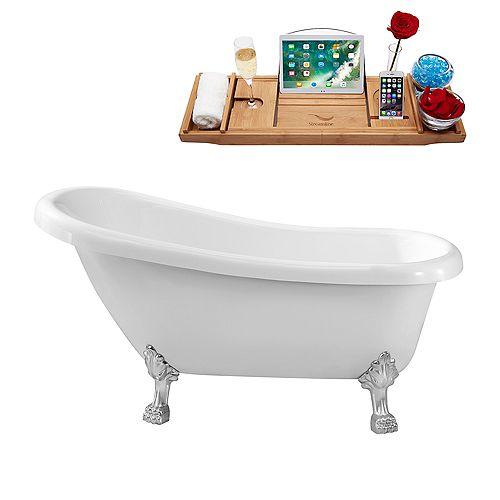 61-inch  N480CH Soaking Clawfoot Tub and Tray With Internal Drain