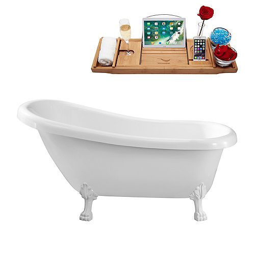 61-inch  N480WH Soaking Clawfoot Tub and Tray With Internal Drain