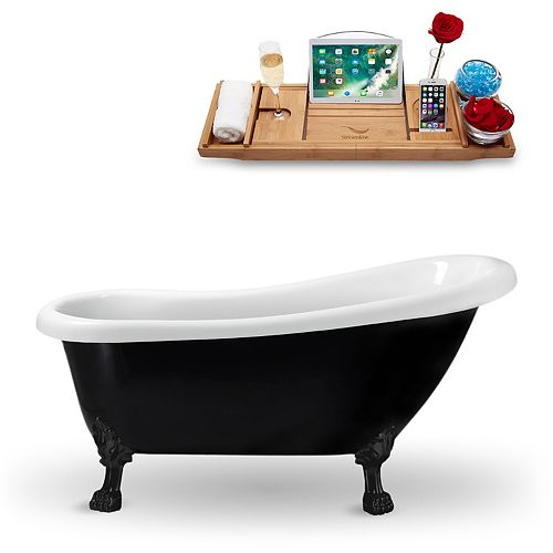 "61"" Streamline N481BL Clawfoot Tub and Tray With Internal Drain"