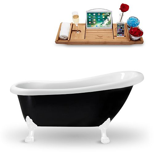 """61"""" Streamline N481WH Clawfoot Tub and Tray With Internal Drain"""