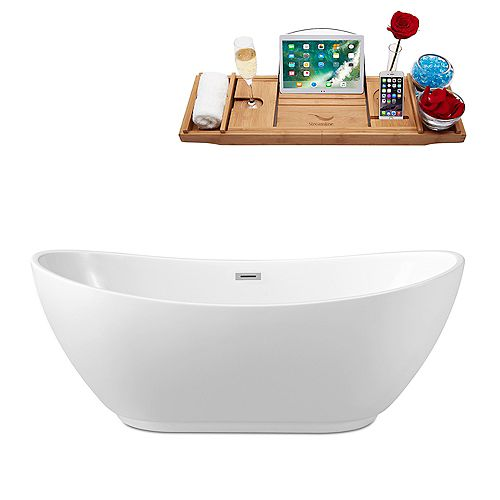 62-inch  N-580-62FSWH-FM Soaking Freestanding Tub and Tray With Internal Drain