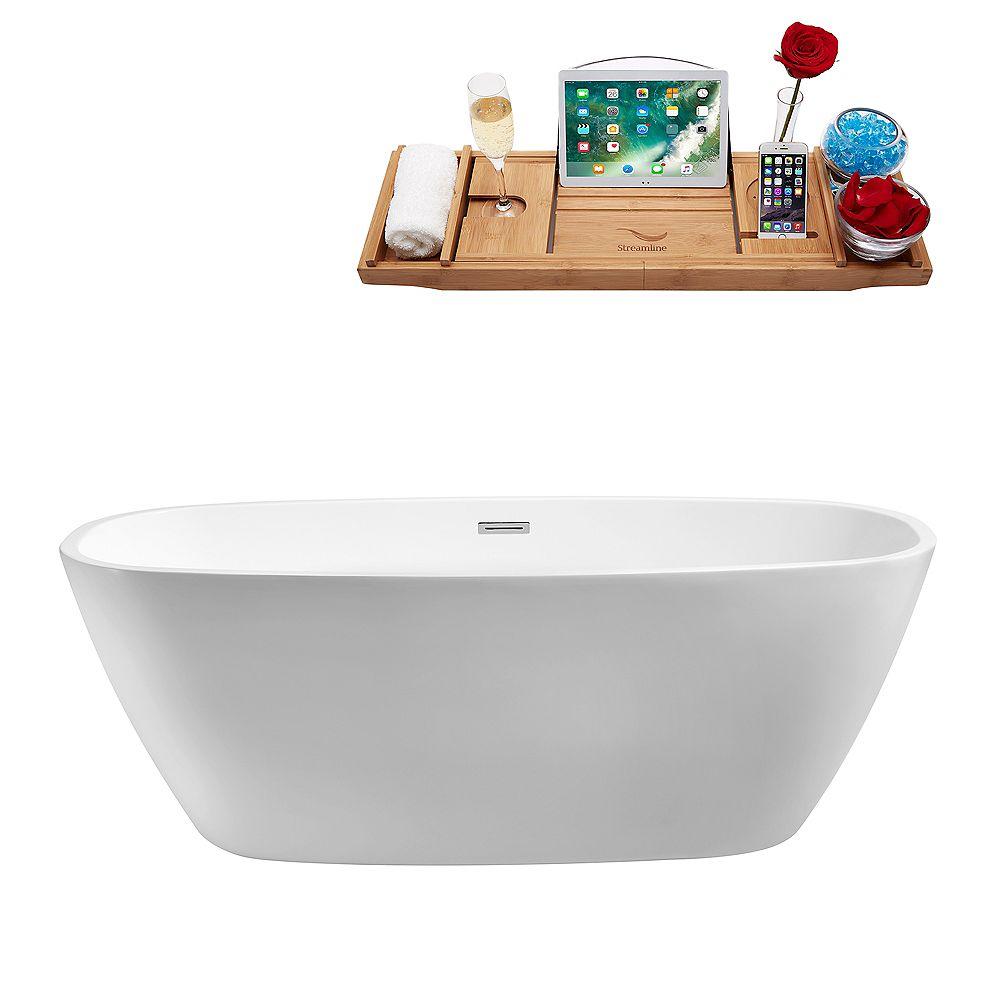 Streamline 59-inch  N-700-59FSWH-FM Soaking Freestanding Tub and Tray With Internal Drain