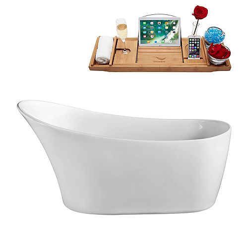 59-inch  N-820-59FSWH-FM Soaking Freestanding Tub and Tray With Internal Drain