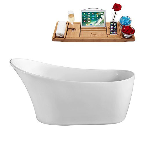 63-inch  N-821-63FSWH-FM Soaking Freestanding Tub and Tray With Internal Drain
