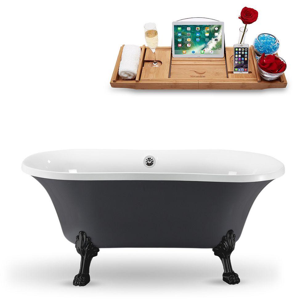 Streamline Baignoire 60po N860BL-CH bain sur pieds amovibles avec drain externe