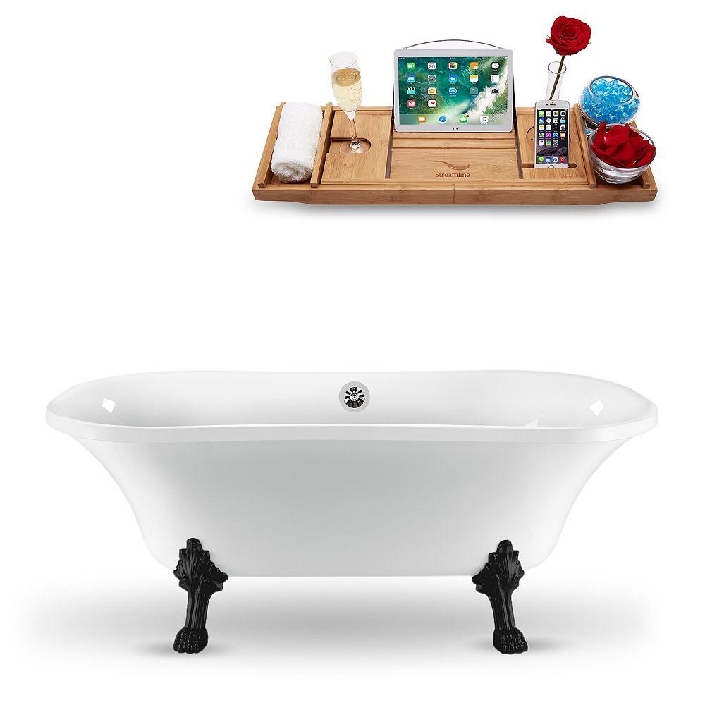 Streamline 68-inch  N861BL-CH Clawfoot Tub and Tray With External Drain