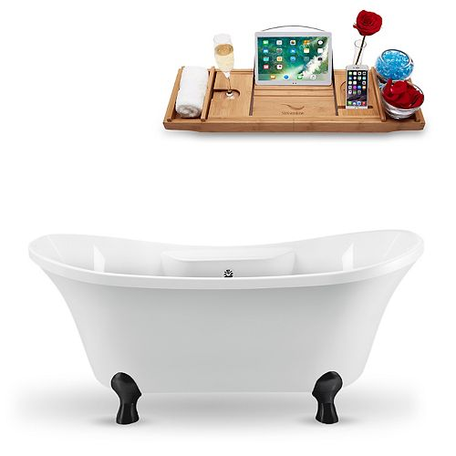 68-inch  N901BL-CH Clawfoot Tub and Tray With External Drain