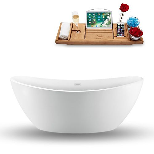 75-inch  N-940-75FSWH-FM Freestanding Tub and Tray With External Drain