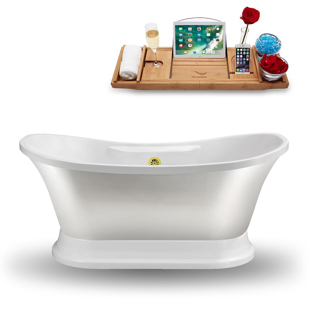 Streamline 60-inch  N960GLD Freestanding Tub and Tray With External Drain