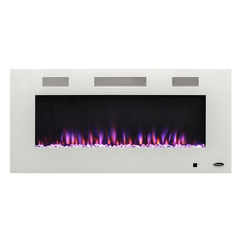 Paramount Premium 50-inch Slim Wall Mount LED Multi-Colour Fireplace in White