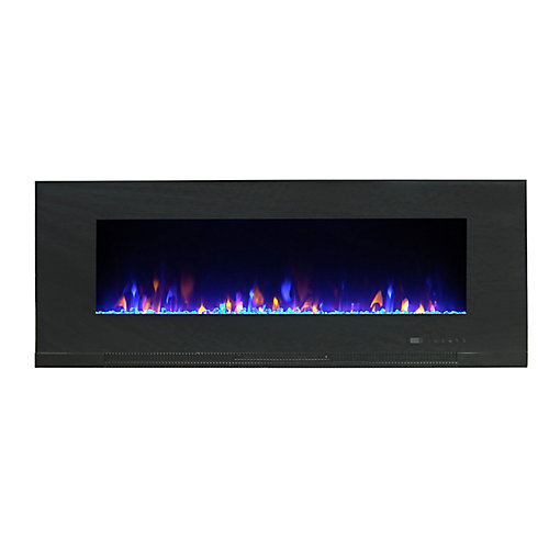 Mirage 60-inch Wall Mount Electric Fireplace with Multicolour Flames