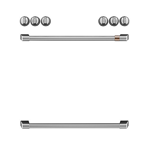 44-inch Front Control Electric Knobs and Handles in Brushed Stainless (8-Piece)