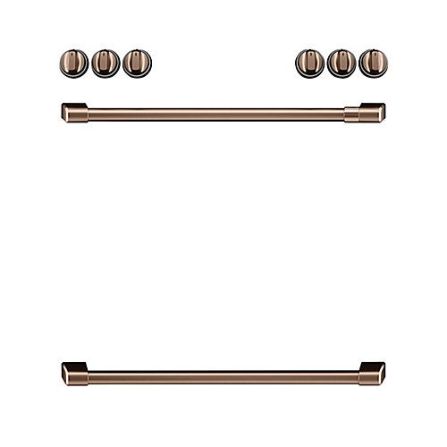 44-inch Front Control Electric Knobs and Handles in Brushed Copper (8-Piece)