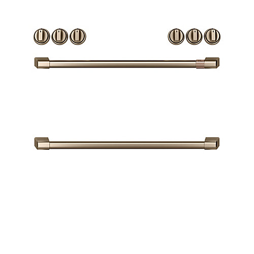 44-inch Front Control Gas Knobs and Handles in Brushed Bronze (8-Piece)