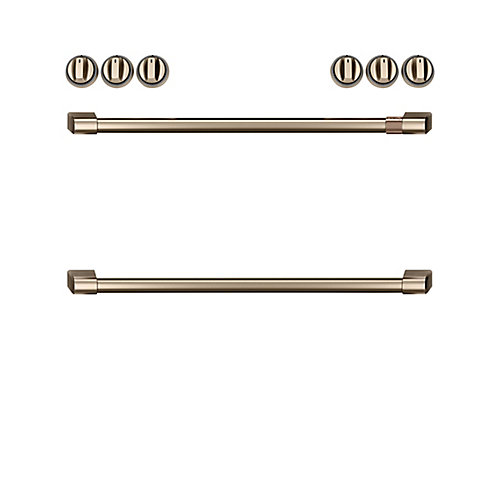 44-inch Front Control Induction Knobs and Handles in Brushed Bronze (8-Piece)