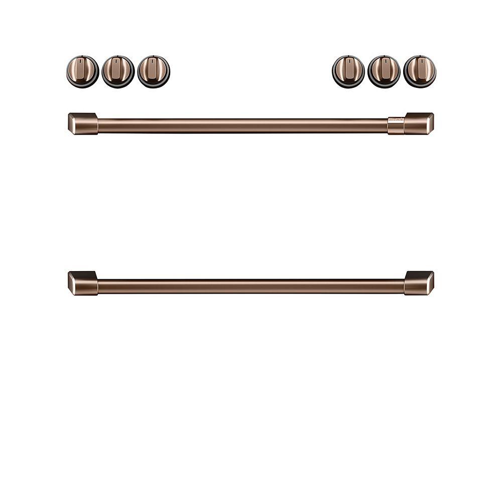 Café Boutons et poignées à induction de 44 po à commande frontale en cuivre brossé (8 pièces)