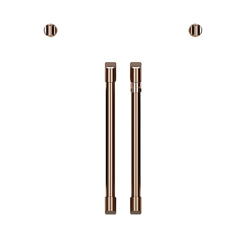 32-inch 2 French-Door Handles and 2 Knobs in Brushed Copper