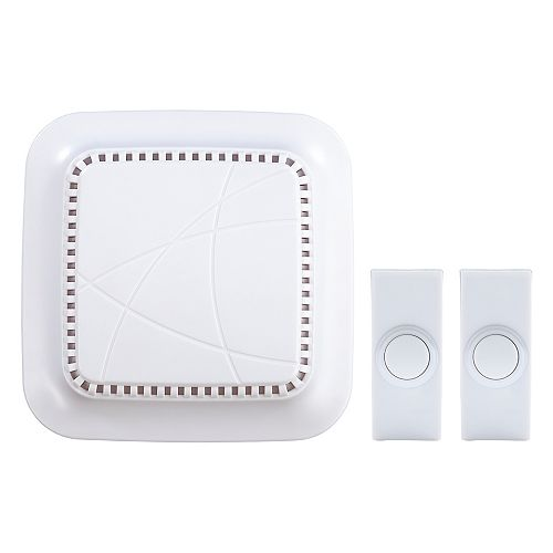 Wireless Battery Operated Door Bell Kit with 2-Push Buttons