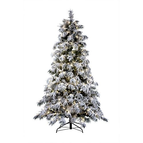 7.5 ft. 500 Warm White LED-Lit Flocked Spruce Artificial Christmas Tree