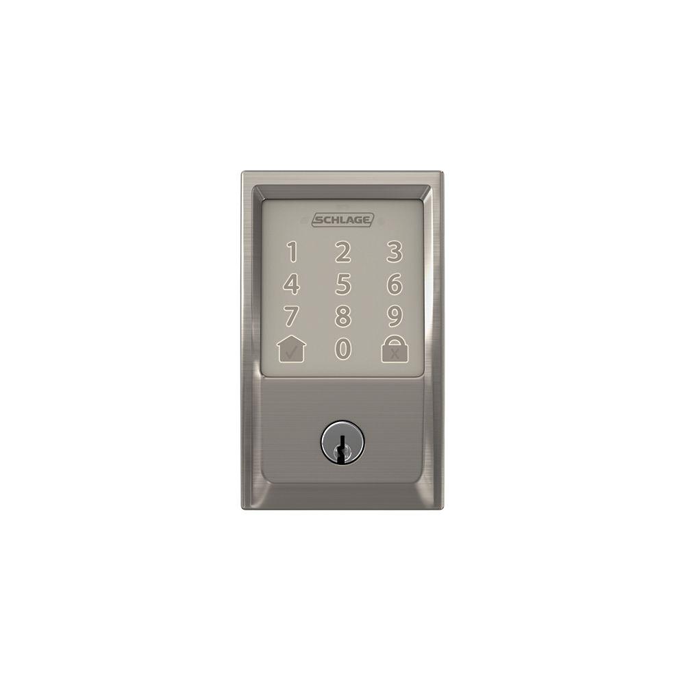 Schlage Encode Satin Nickel Smart WiFi Keyless Entry Deadbolt Lock with Century Trim