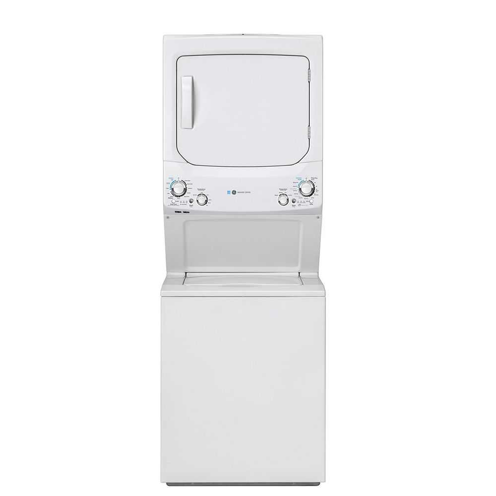 GE Unitized Apartment Size 27-inch Stacked Washer and Dryer Laundry Centre in White, ENERGY STAR