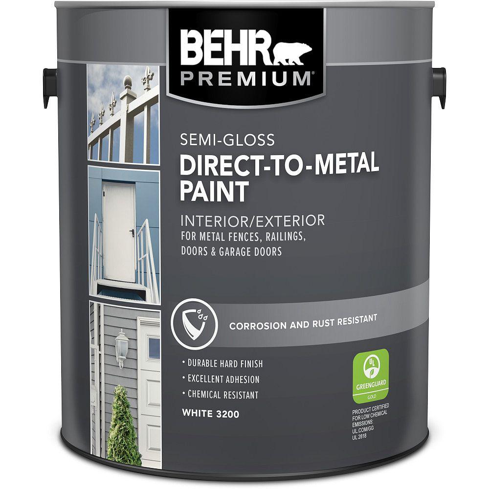 Behr Premium PREMIUM peinture intérieure/extérieure semi-brillante pour métal - Blanc, 3,79 L