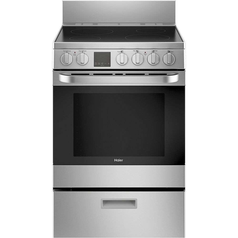 Haier 24-inch W 2.9 Cu. ft. Free-standing Electric Convection Range in Stainless Steel
