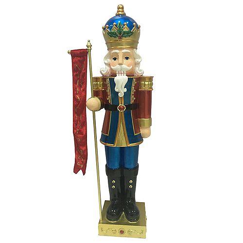 3 ft. 5-inch LED-Lit Metallic Nutcracker King Christmas Decoration