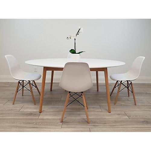 Eiffel Mid Century Oval Dining Table 66.93 inch x 43.31 inch x 28.74 inch