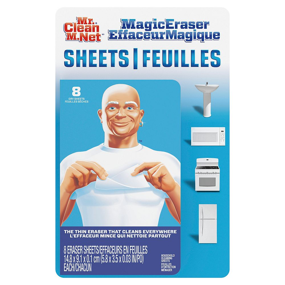 Mr. Clean Magic Eraser Cleaning Sheets, the power of a Magic Eraser in a thin, flexible, disposable Cleaning Sheet, 8 count