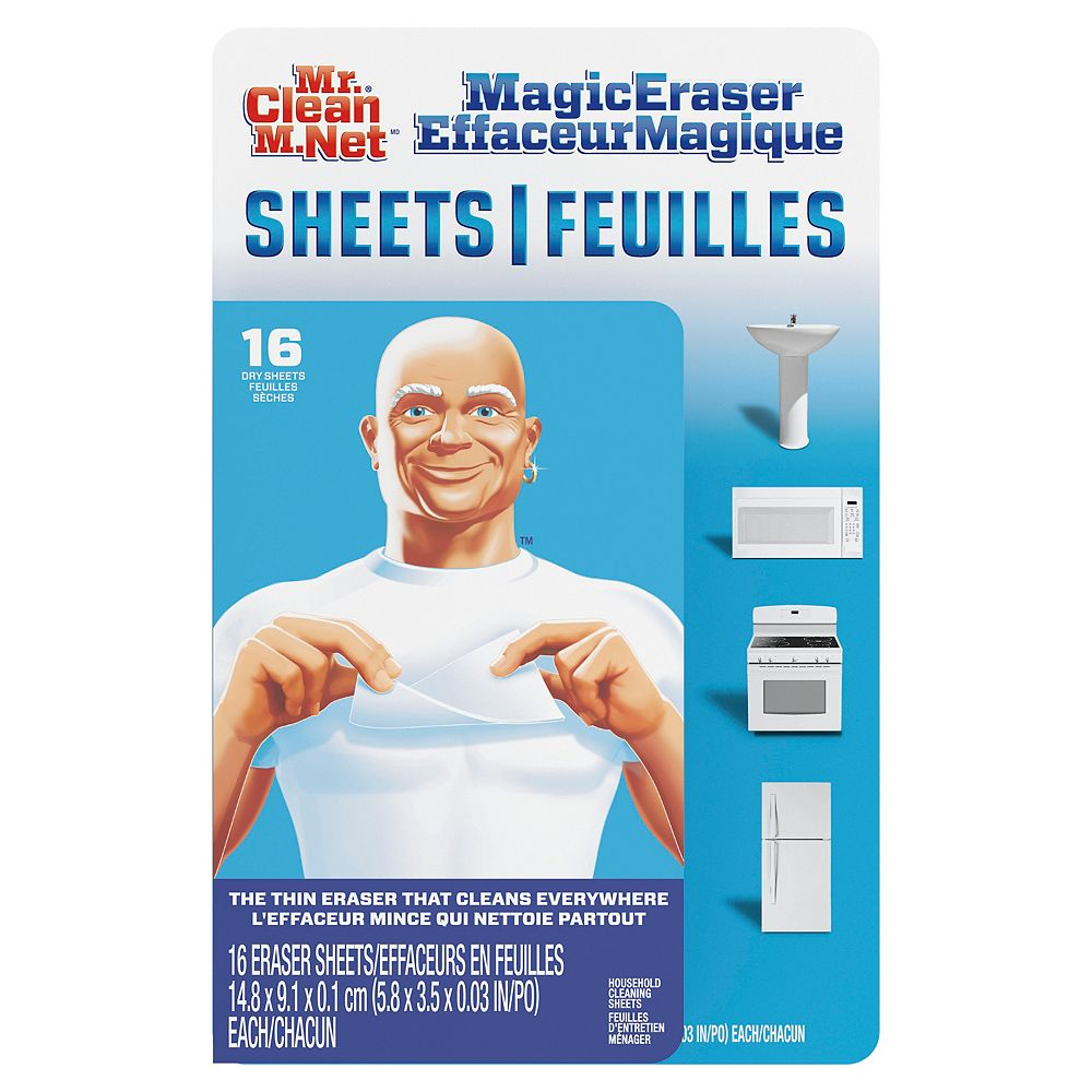 Mr. Clean Magic Eraser Cleaning Sheets, the power of a Magic Eraser in a thin, flexible, disposable Cleaning Sheet, 16 count