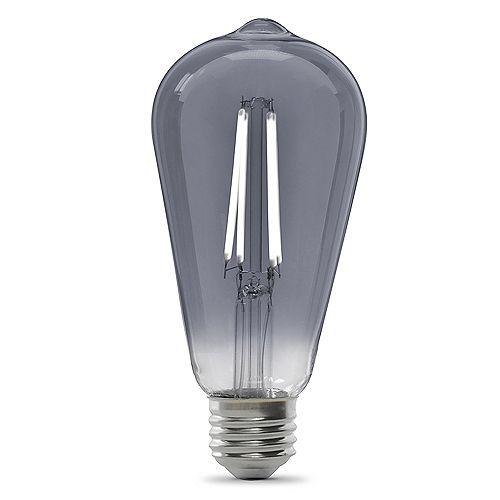 25W Eq ST19 Daylight (5000K) Dimmable Smoke Glass Filament Vintage Edison Style LED Light Bulb